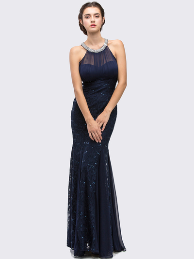 E5030 Jeweled Halter Evening Dress - Navy, Front View Medium