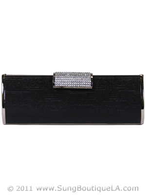 E890 Black Evening Clutch with Rhinestone Clip, Black