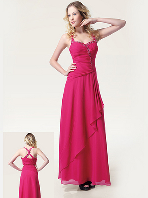 EL2614 Beaded Ruched Evening Dress, Fuschia