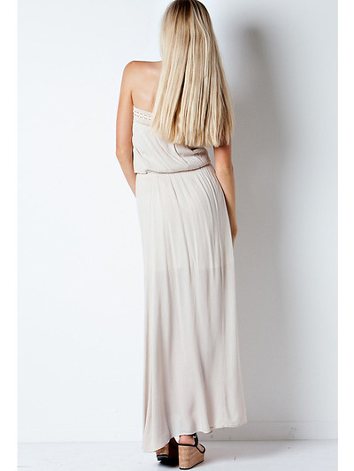 END1796 Crinkle Tube Maxi Dress - Natural, Back View Medium