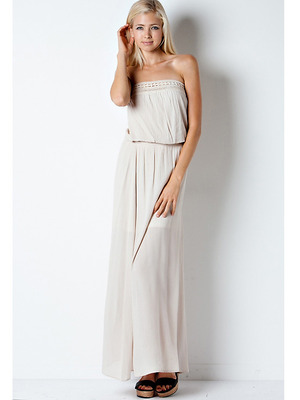 END1796 Crinkle Tube Maxi Dress, Natural