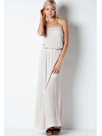 END1796 Crinkle Tube Maxi Dress - Natural, Front View Medium