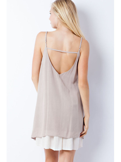 END2219 Scoop Neck Slip Dress - Mocha, Back View Medium