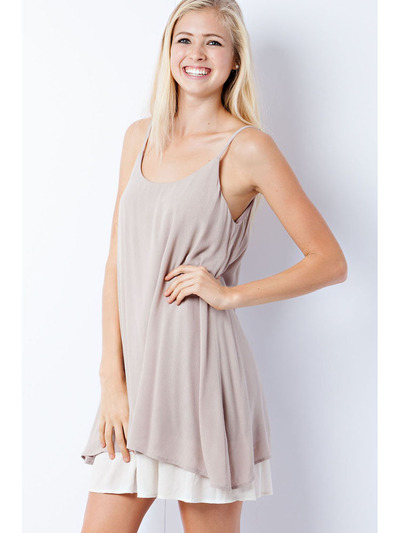 END2219 Scoop Neck Slip Dress - Mocha, Front View Medium