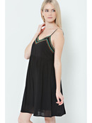 END2235 Babydoll Beaded Slip dress, Black