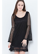 END2457 Lace Bohoo Shift Dress, Black