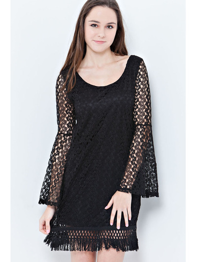END2457 Lace Bohoo Shift Dress - Black, Front View Medium