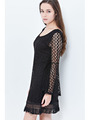 END2457 Lace Bohoo Shift Dress - Black, Alt View Thumbnail