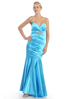 EV3004 Pleated Satin Evening Dress, Turquoise