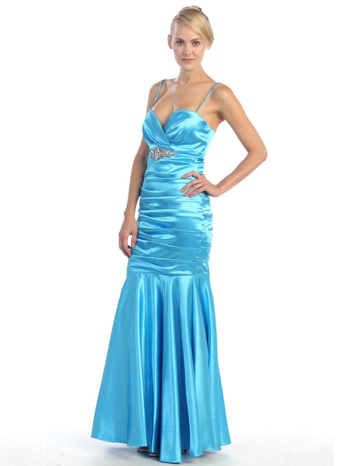 Pleated Satin Evening Dress Sung Boutique L A