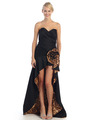 EV3011 Sweetheart Tiger Print Flora High-Low Evening Dress - Black Tiger, Front View Thumbnail