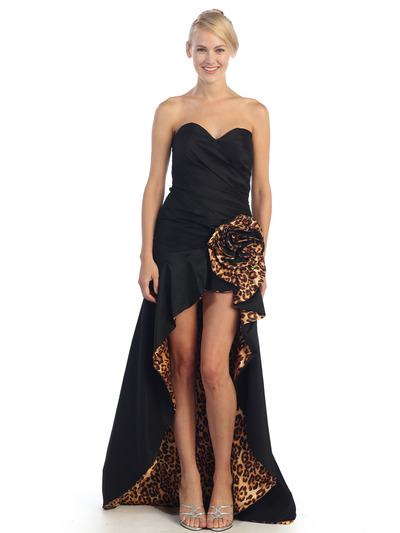 EV3011 Sweetheart Tiger Print Flora High-Low Evening Dress - Black Tiger, Front View Medium