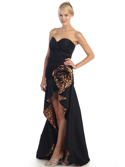 EV3011 Sweetheart Tiger Print Flora High-Low Evening Dress - Black Tiger, Alt View Medium