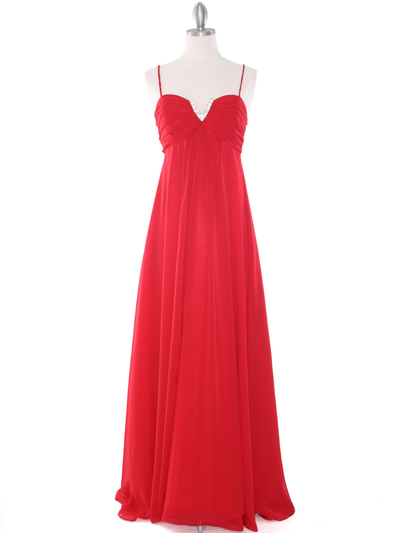 EV3035 Empire Waist Chiffon Evening Dress - Red, Front View Medium