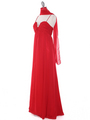 EV3035 Empire Waist Chiffon Evening Dress - Red, Alt View Thumbnail