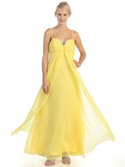 EV3035 Empire Waist Chiffon Evening Dress - Yellow, Front View Medium