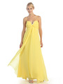 EV3035 Empire Waist Chiffon Evening Dress - Yellow, Alt View Thumbnail