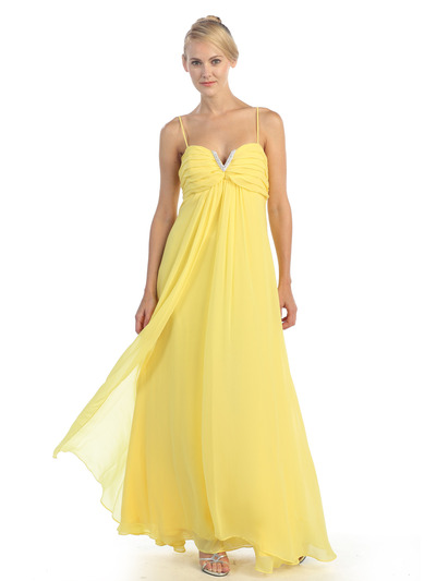 EV3035 Empire Waist Chiffon Evening Dress - Yellow, Alt View Medium
