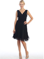 EV3055 Pleated V-neck Cocktail Dress - Black, Front View Thumbnail