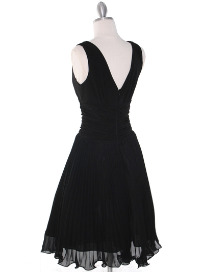 EV3055 Pleated V-neck Cocktail Dress - Black, Back View Medium