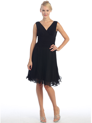 EV3055 Pleated V-neck Cocktail Dress, Black
