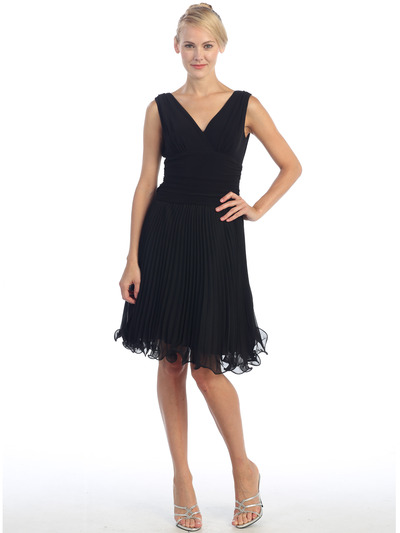 EV3055 Pleated V-neck Cocktail Dress - Black, Front View Medium