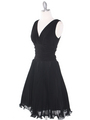 EV3055 Pleated V-neck Cocktail Dress - Black, Alt View Thumbnail