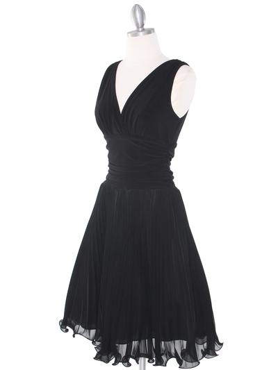 EV3055 Pleated V-neck Cocktail Dress - Black, Alt View Medium