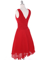 EV3055 Pleated V-neck Cocktail Dress - Red, Back View Thumbnail