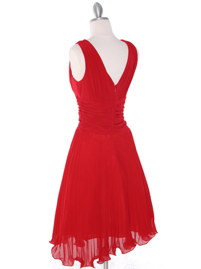 EV3055 Pleated V-neck Cocktail Dress - Red, Back View Medium