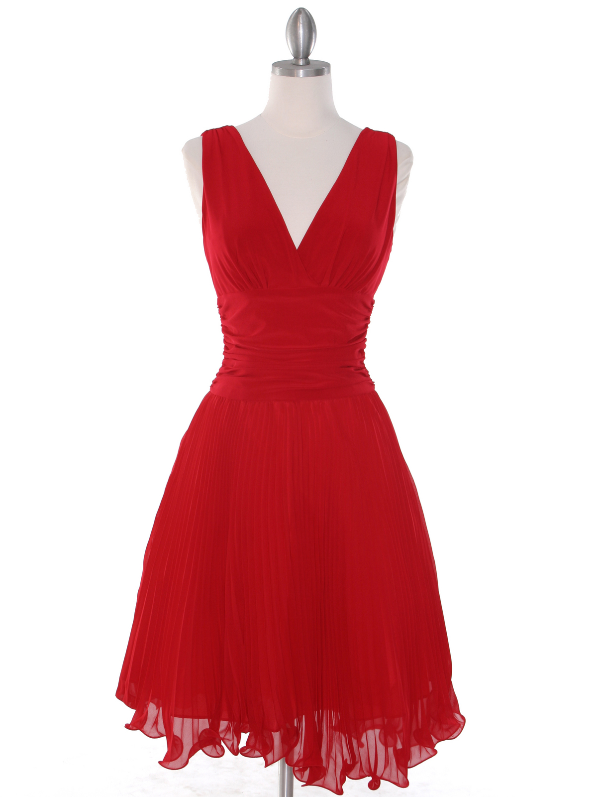 Ev3055 Pleated V Neck Tail Dress Red Front View Medium