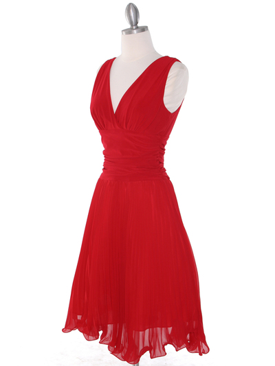 EV3055 Pleated V-neck Cocktail Dress - Red, Alt View Medium