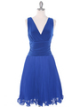 EV3055 Pleated V-neck Cocktail Dress - Royal Blue, Front View Thumbnail