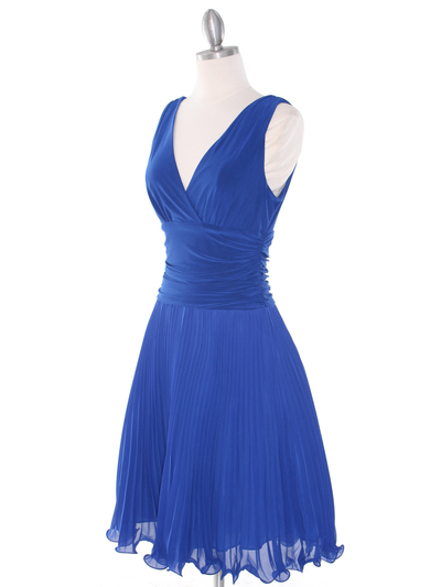 EV3055 Pleated V-neck Cocktail Dress - Royal Blue, Back View Medium