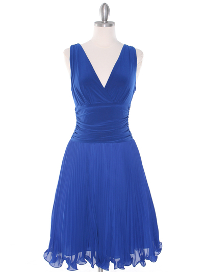 EV3055 Pleated V-neck Cocktail Dress - Royal Blue, Front View Medium