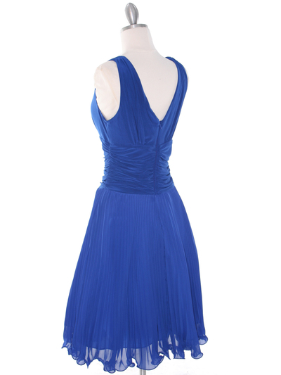 EV3055 Pleated V-neck Cocktail Dress - Royal Blue, Alt View Medium