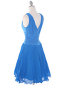 EV3055 Pleated V-neck Cocktail Dress - Turquoise, Back View Thumbnail