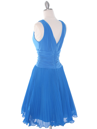 EV3055 Pleated V-neck Cocktail Dress - Turquoise, Back View Medium