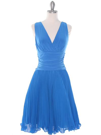 EV3055 Pleated V-neck Cocktail Dress - Turquoise, Front View Medium