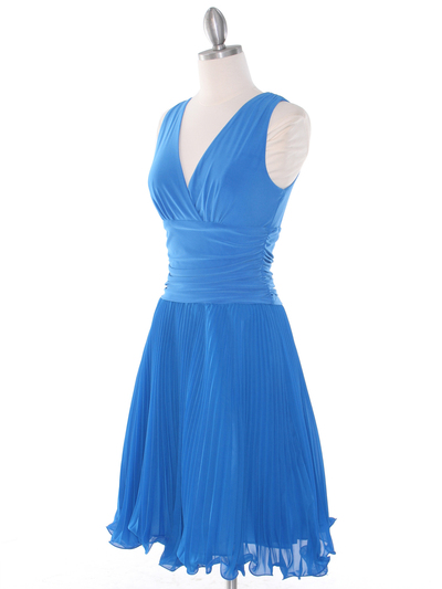 EV3055 Pleated V-neck Cocktail Dress - Turquoise, Alt View Medium