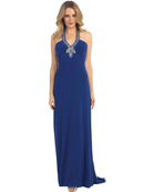 EV3056 Embellished Halter Evening Dress, Royal Blue