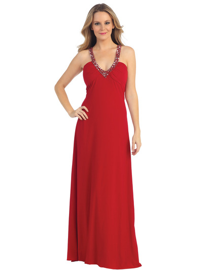EV3060 Embellished Halter Crisscross Open Back EveningDress - Red, Front View Medium