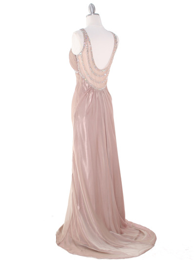 EV3064 Sparkling Trim Halter Chiffon Sheath Evening Dress - Cafe, Back View Medium