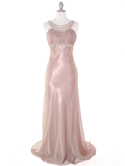EV3064 Sparkling Trim Halter Chiffon Sheath Evening Dress - Cafe, Front View Medium