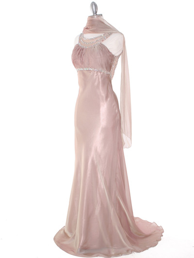 EV3064 Sparkling Trim Halter Chiffon Sheath Evening Dress - Cafe, Alt View Medium