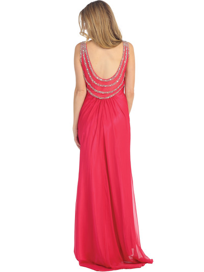 EV3064 Sparkling Trim Halter Chiffon Sheath Evening Dress - Watermelon, Back View Medium