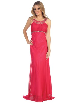 EV3064 Sparkling Trim Halter Chiffon Sheath Evening Dress, Watermelon