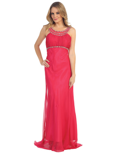 EV3064 Sparkling Trim Halter Chiffon Sheath Evening Dress - Watermelon, Front View Medium
