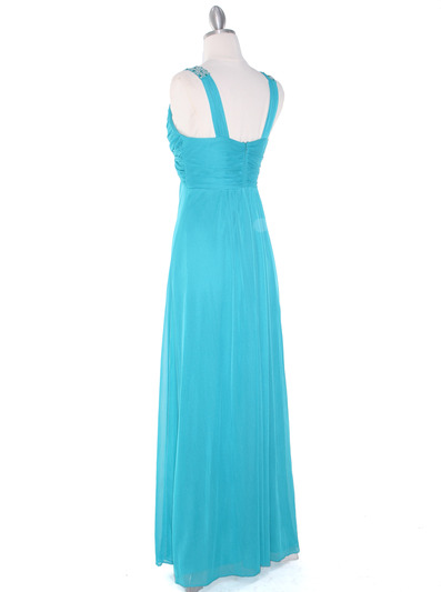 EV3065 Knot Decor Evening Dress - Jade, Back View Medium