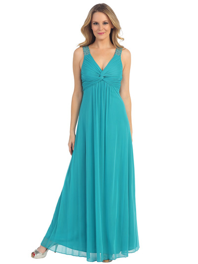 EV3065 Knot Decor Evening Dress - Jade, Front View Medium